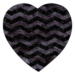 Chevron3 Black Marble & Black Watercolor Jigsaw Puzzle (heart)
