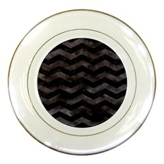 Chevron3 Black Marble & Black Watercolor Porcelain Plates