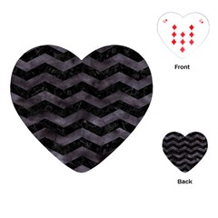Chevron3 Black Marble & Black Watercolor Playing Cards (heart)