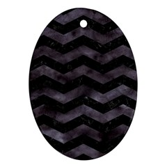 Chevron3 Black Marble & Black Watercolor Oval Ornament (two Sides)