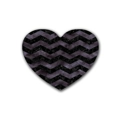 Chevron3 Black Marble & Black Watercolor Heart Coaster (4 Pack)