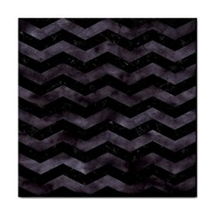 Chevron3 Black Marble & Black Watercolor Face Towel