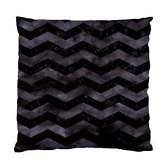 Chevron3 Black Marble & Black Watercolor Standard Cushion Case (one Side)