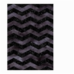Chevron3 Black Marble & Black Watercolor Small Garden Flag (two Sides)