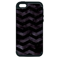 Chevron3 Black Marble & Black Watercolor Apple Iphone 5 Hardshell Case (pc+silicone)