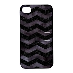Chevron3 Black Marble & Black Watercolor Apple Iphone 4/4s Hardshell Case With Stand