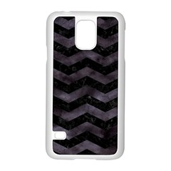 Chevron3 Black Marble & Black Watercolor Samsung Galaxy S5 Case (white)