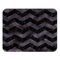 Chevron3 Black Marble & Black Watercolor Double Sided Flano Blanket (large)