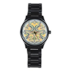 Art Nouveau Stainless Steel Round Watch