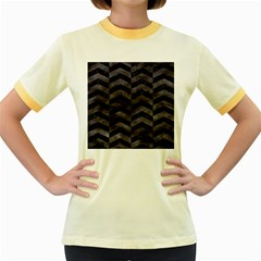 Chevron2 Black Marble & Black Watercolor Women s Fitted Ringer T Shirts