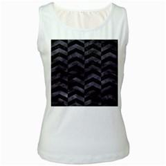 Chevron2 Black Marble & Black Watercolor Women s White Tank Top