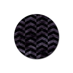 Chevron2 Black Marble & Black Watercolor Rubber Coaster (round)