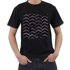 Chevron2 Black Marble & Black Watercolor Men s T Shirt (black) (two Sided)