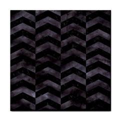 Chevron2 Black Marble & Black Watercolor Face Towel