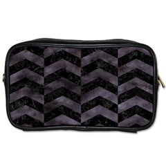Chevron2 Black Marble & Black Watercolor Toiletries Bags