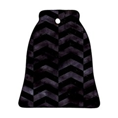 Chevron2 Black Marble & Black Watercolor Bell Ornament (two Sides)