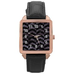 Chevron2 Black Marble & Black Watercolor Rose Gold Leather Watch