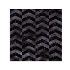 Chevron2 Black Marble & Black Watercolor Small Satin Scarf (square)