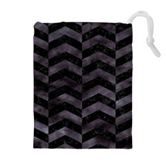 Chevron2 Black Marble & Black Watercolor Drawstring Pouches (extra Large)
