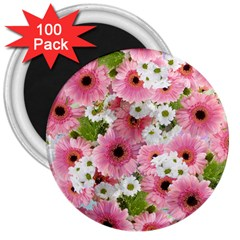 Pink Flower Bg 2 3  Magnets (100 Pack)