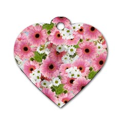 Pink Flower Bg 2 Dog Tag Heart (two Sides)