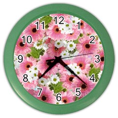 Pink Flower Bg 2 Color Wall Clocks