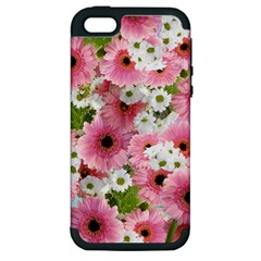 Pink Flower Bg 2 Apple Iphone 5 Hardshell Case (pc+silicone)