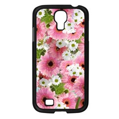 Pink Flower Bg 2 Samsung Galaxy S4 I9500/ I9505 Case (black)