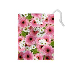 Pink Flower Bg 2 Drawstring Pouches (medium)