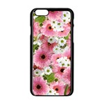 Pink Flower Bg 2 Apple iPhone 6/6S Black Enamel Case Front