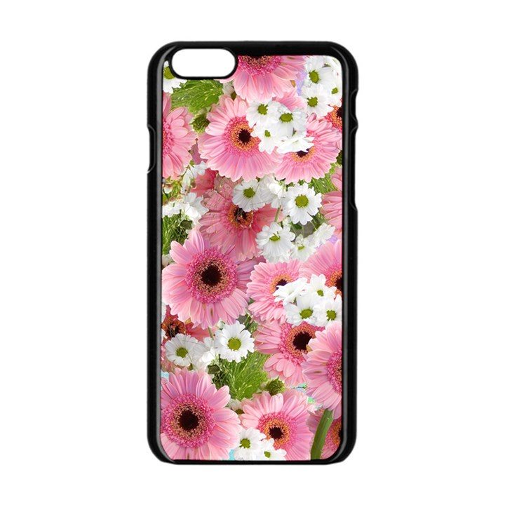 Pink Flower Bg 2 Apple iPhone 6/6S Black Enamel Case