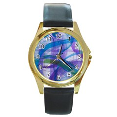 Construct Round Gold Metal Watch