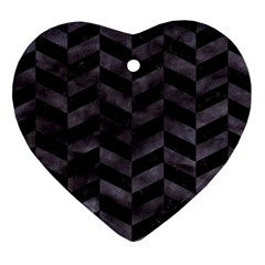 Chevron1 Black Marble & Black Watercolor Heart Ornament (two Sides)