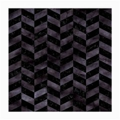Chevron1 Black Marble & Black Watercolor Medium Glasses Cloth