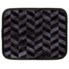Chevron1 Black Marble & Black Watercolor Netbook Case (large)