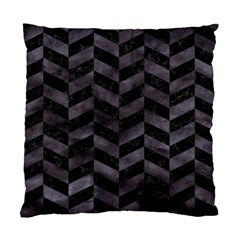Chevron1 Black Marble & Black Watercolor Standard Cushion Case (one Side)