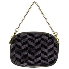 Chevron1 Black Marble & Black Watercolor Chain Purses (two Sides)
