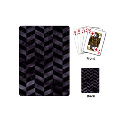 Chevron1 Black Marble & Black Watercolor Playing Cards (mini)