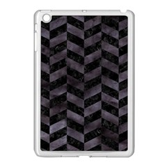 Chevron1 Black Marble & Black Watercolor Apple Ipad Mini Case (white)