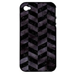 Chevron1 Black Marble & Black Watercolor Apple Iphone 4/4s Hardshell Case (pc+silicone)