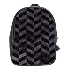 Chevron1 Black Marble & Black Watercolor School Bag (xl)