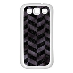 Chevron1 Black Marble & Black Watercolor Samsung Galaxy S3 Back Case (white)