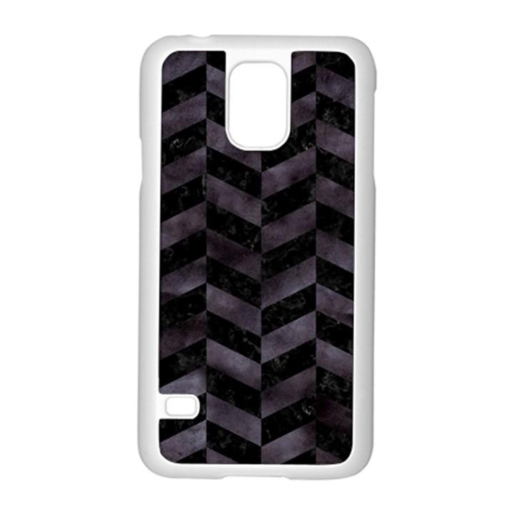 CHEVRON1 BLACK MARBLE & BLACK WATERCOLOR Samsung Galaxy S5 Case (White)