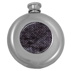Brick2 Black Marble & Black Watercolor (r) Round Hip Flask (5 Oz)