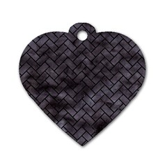 Brick2 Black Marble & Black Watercolor (r) Dog Tag Heart (one Side)