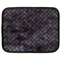 Brick2 Black Marble & Black Watercolor (r) Netbook Case (xl)
