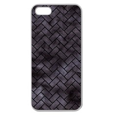 Brick2 Black Marble & Black Watercolor (r) Apple Seamless Iphone 5 Case (clear)