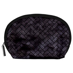 Brick2 Black Marble & Black Watercolor (r) Accessory Pouches (large)