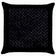 Brick2 Black Marble & Black Watercolor Throw Pillow Case (black)