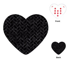 Brick2 Black Marble & Black Watercolor Playing Cards (heart)